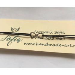 Brățară Infinit, argint 925 și șnur reglabil de mătase