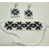 Set Alina, cercei și brățară, realizat din mărgele de sticlă și șnur de bumbac